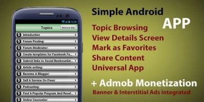 Book or Topics App - Simple Android  App Template