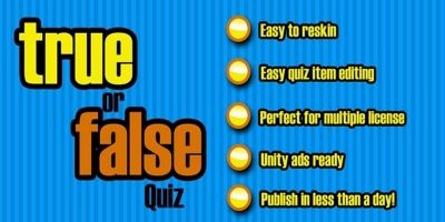 True Or False Quiz - Unity Game Source Code