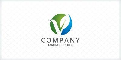 Letter V Leaf Logo Template