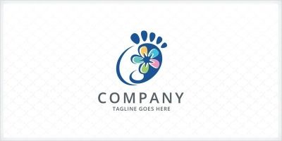 Foot and Flower Logo Template