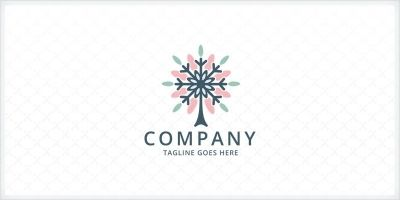 Snowflake Tree Logo Template