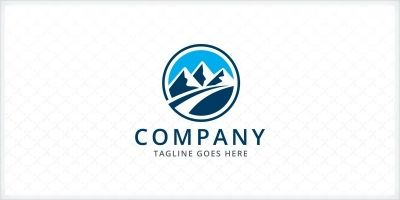 Mountains Path Logo Template