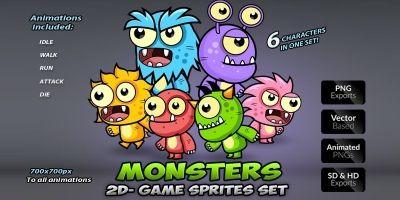 Monster Game Enemies Character Sprites