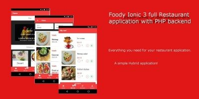 Foody Ionic 3 Full Restaurant App With PHP Backend