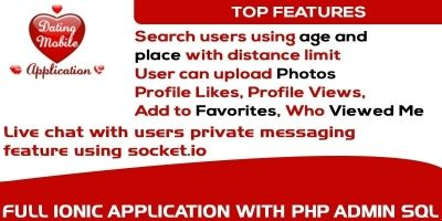 Dating Mobile App Ionic with Full PHP Admin SQL