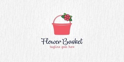 Flower Basket - Logo Template