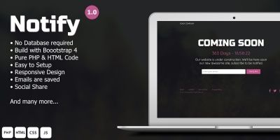 Notify - Website Landing Webpage PHP