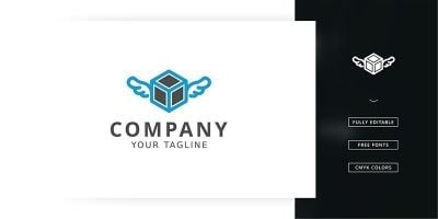 Flying Cube Logo Template
