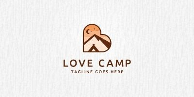 Love Camping Logo Template