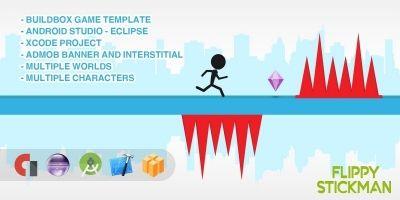 Flippy Stickman - Buildbox Game Template