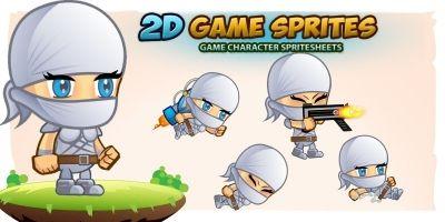 White Ninja 2D Game Sprites