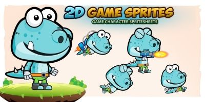 Dino 2D Game Character Sprites