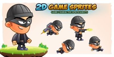 Bad Guy 2D Game Character Sprites
