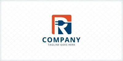 Letter R - Electrical Plug Logo