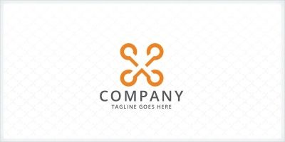 Connecting Dots - Letter X Logo