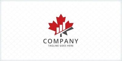 Maple Leaf Bar Charts - Financial Logo