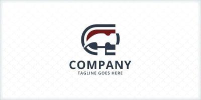 Letter C and Hammer Logo
