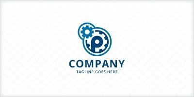 Mechanical Gears - Letter P Logo
