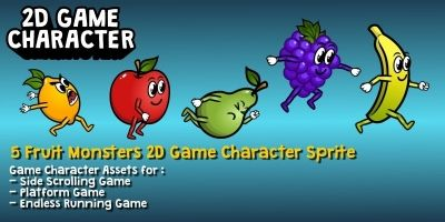 5 Fruit Monsters 2D Game Character Sprite