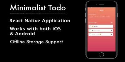 Minimalist Todo - React App Template