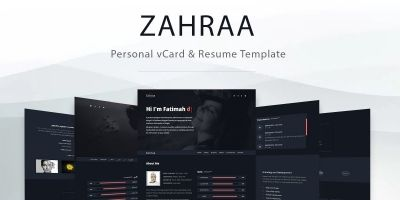 Zahra - Personal vCard And Resume Template