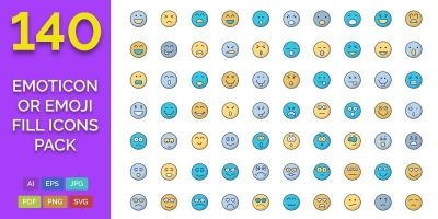 140 Emoticon or Emoji Fill Icons Pack