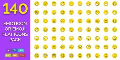 140 Emoticon or Emoji Flat Icons Pack