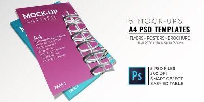 5 Mock-Up Flyer PSD Templates A4