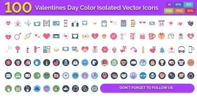 100 Valentines Day Color Isolated Vector Icons