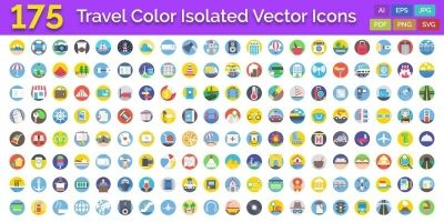 175 Travel Color Isolated Vector Icons