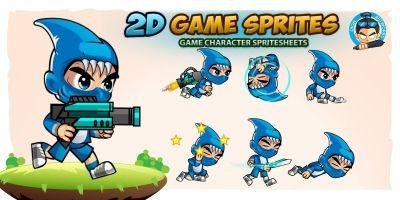 Shark Boy 2D Game Sprites
