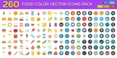 260 Food Color Vector Icons Pack