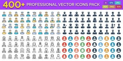 400 Professional Vector Icons Pack