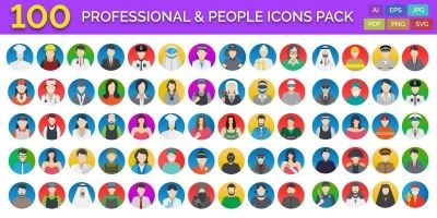 100 Professional And People Icons Pack