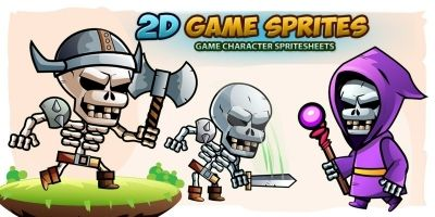 Skull warriors 2D Game Sprites Set