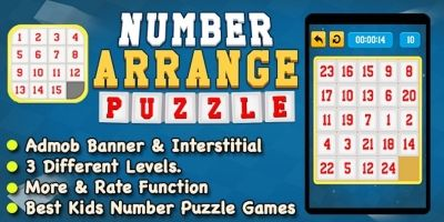 Number Arrange Puzzle Game  - iOS Source Code