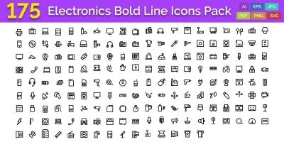 175 Electronics Bold Line Icons Pack