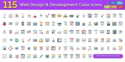 115 Web Design and Development Color Icons
