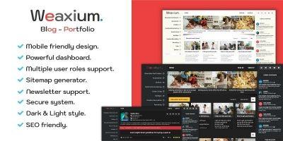 Weaxium - Responsive Portfolio Blog PHP script