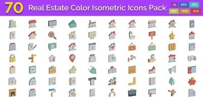 70 Real Estate Color isometric Vector icons Pack
