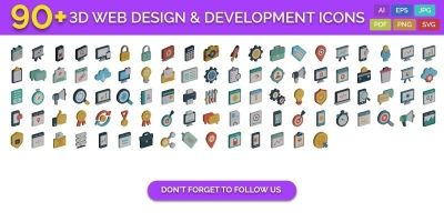 90 3D Web Design And Development Vector Icons