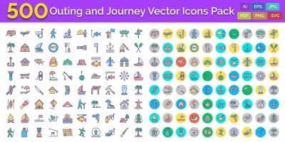 500 Outing and Journey Vector Icons Pack