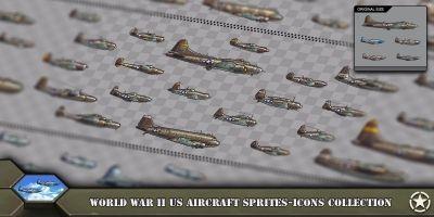 Aircraft Sprites Icons United States World War 2