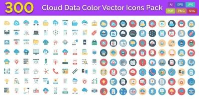 300 Cloud Data Color Vector Icons