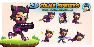 SuperCat Girl 2D Game Sprites