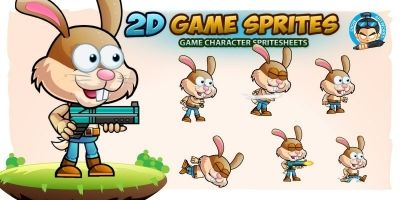 Warrior Bunny 2D Game Character Sprites