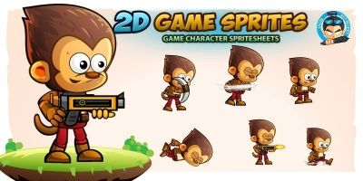 Monkey Warrior 2D Game Character Sprites