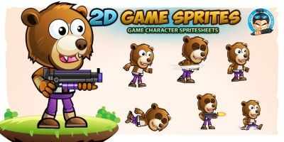 Bear Warrior 2D Game Character Sprites