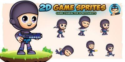 Ninja 003 2D Game Character Sprites