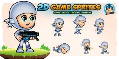White Girl Ninja 2 Game Character Sprites